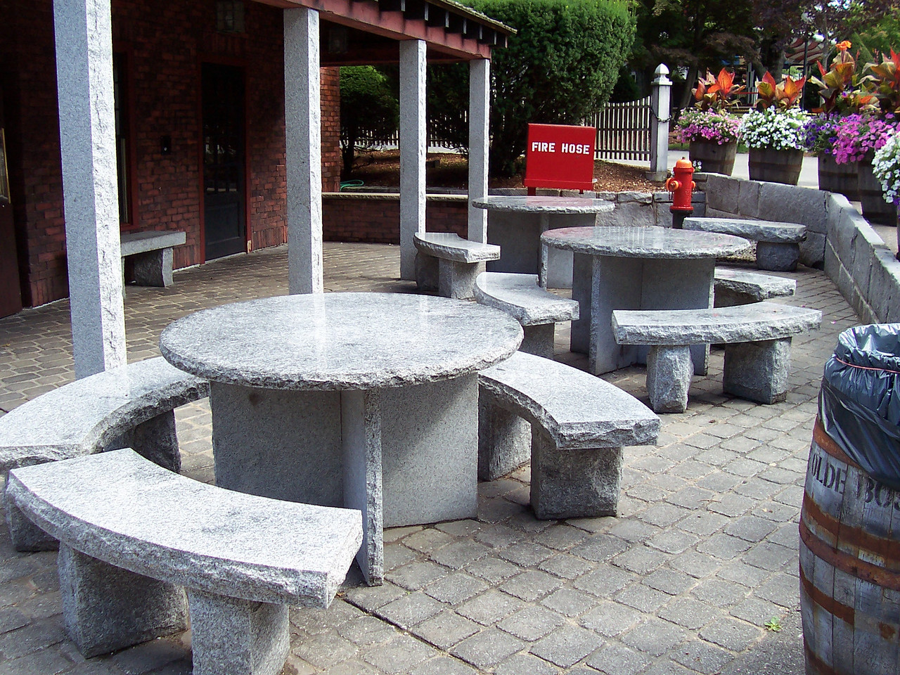 Stone tables outside Yankee Whaler.