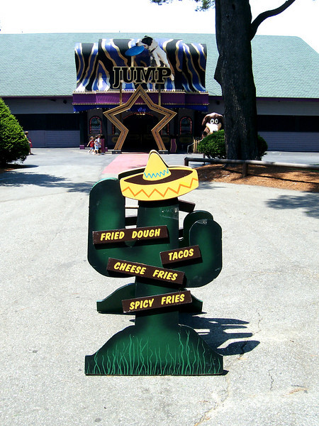 Poncho Cantina signboard in front of the Dancehall Theatre.
