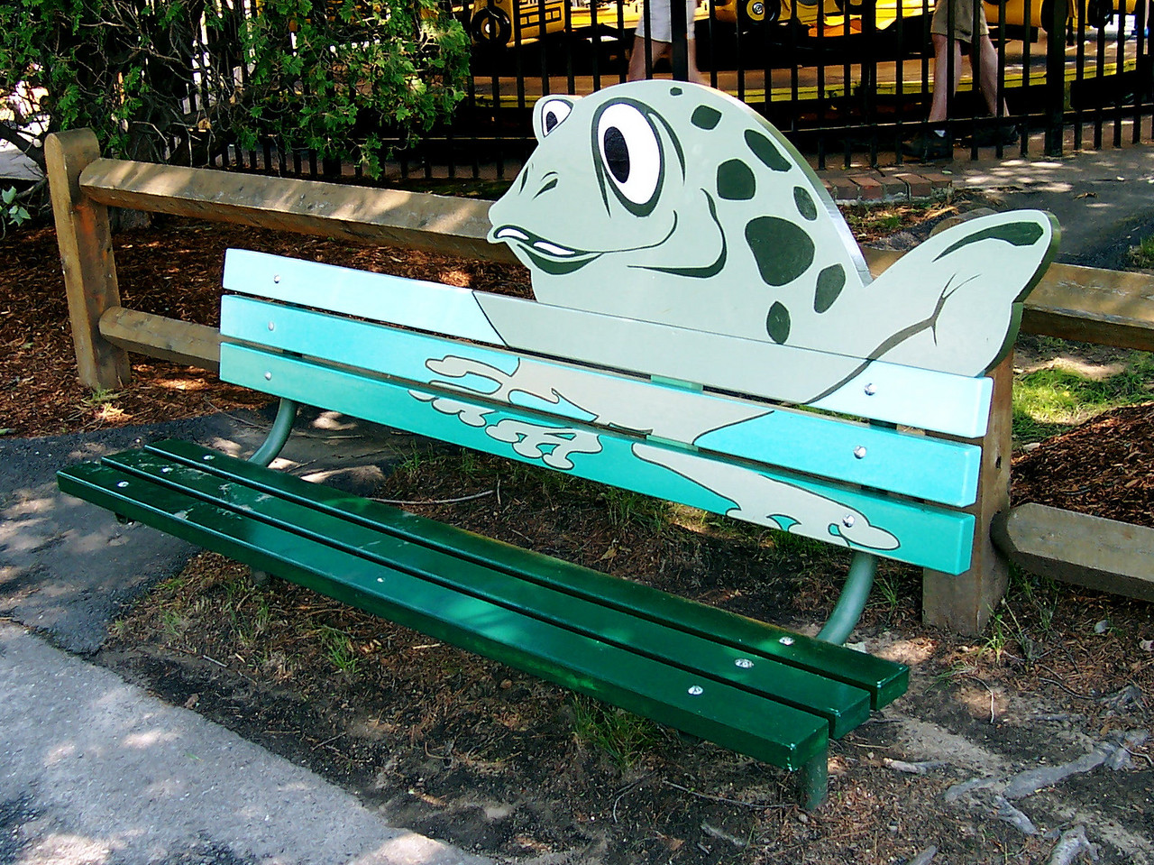 A new, themed bench across from Flower Power.