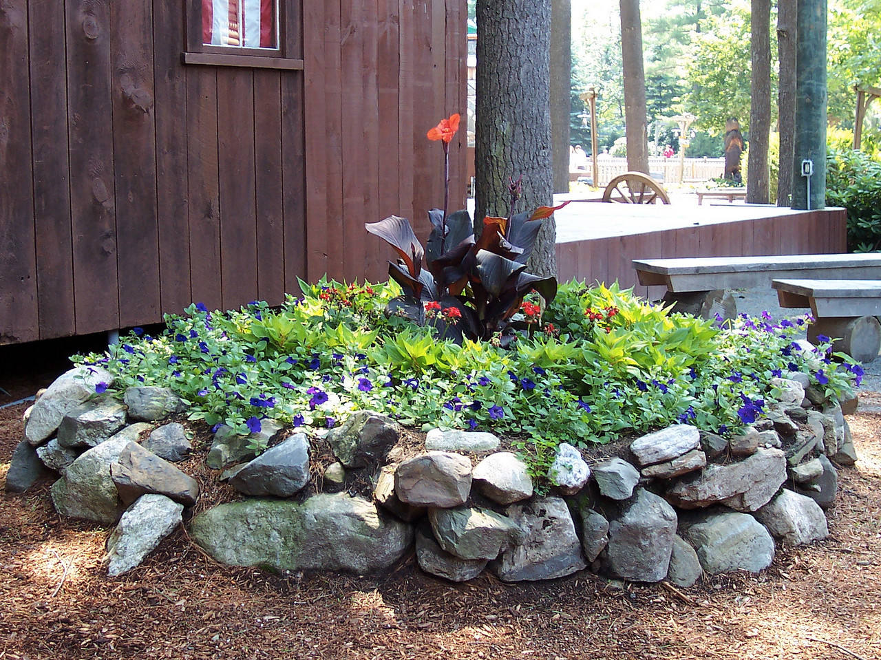 Landscaping next to the Village Stage.