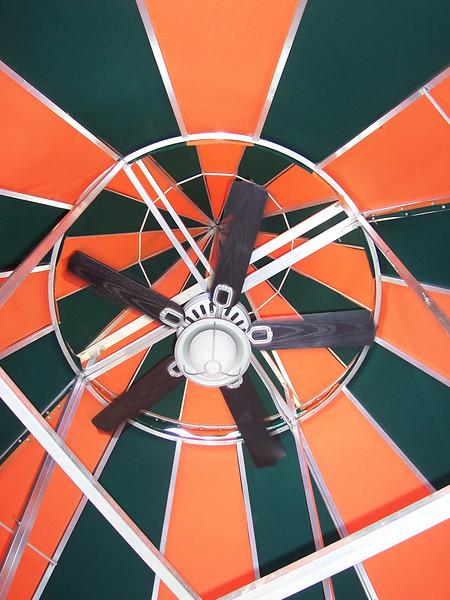 Each gazebo has a ceiling fan, to draw smoke upwards.