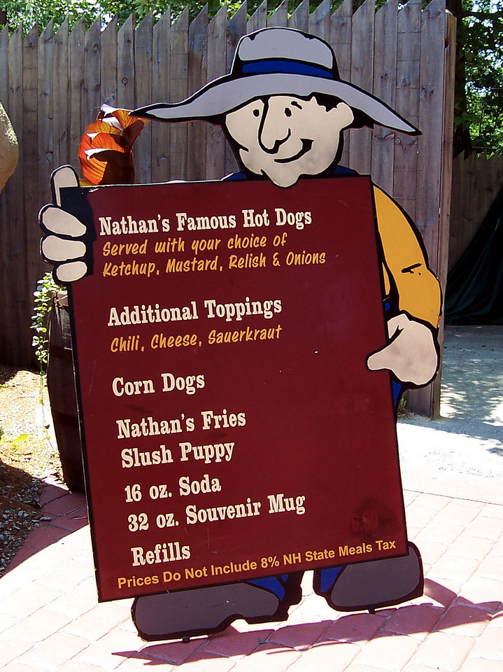 Pick Axe Pub menu signboard. They serve Nathan's hot dogs.