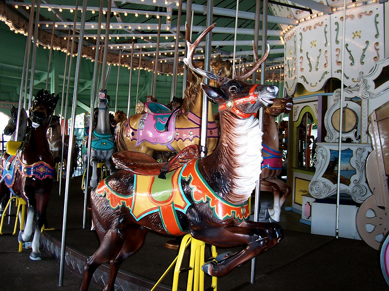 There's a reindeer or stag on the Carousel.