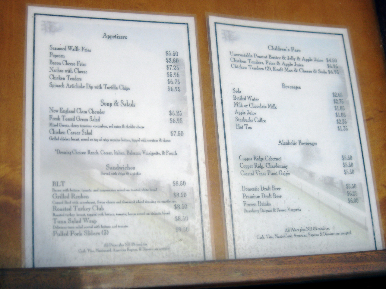 Sons of Liberty Tavern menu.