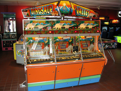 The coin pusher game in the front of the Lake Arcade.