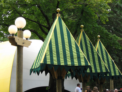 Details of the tree-themed umbrellas. Love the spheres on top.