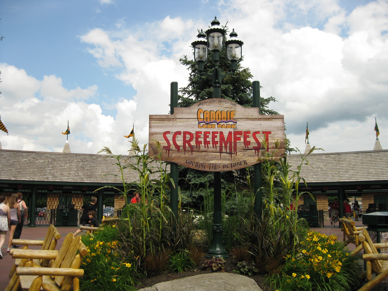 The ScreeemFest display now has stalks of corn.