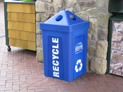 There were a few Aquafina-branded recycle bins in the park.