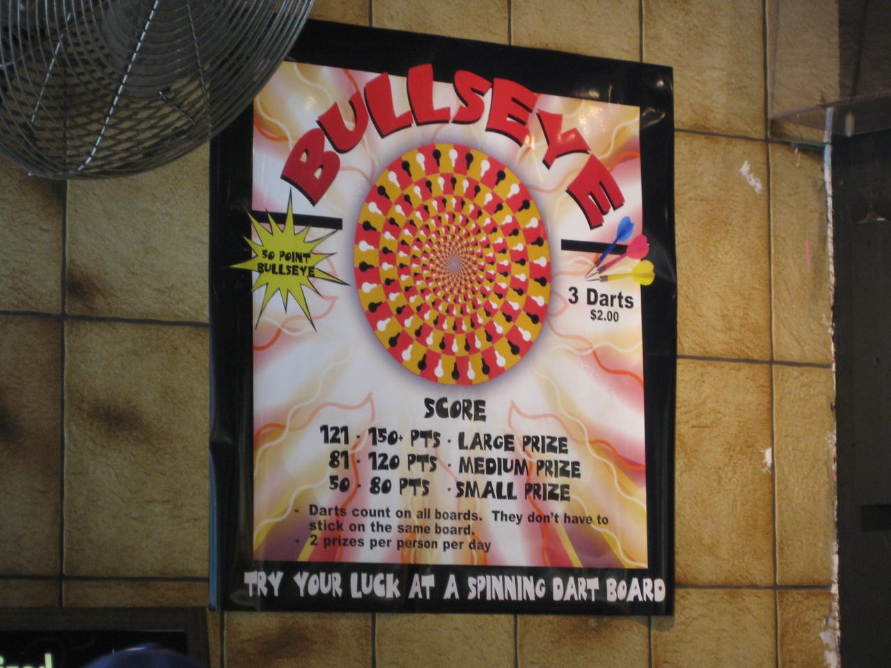 This sign says Bullseye.