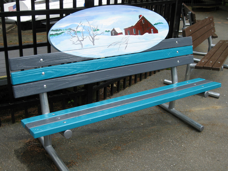 A themed bench in kiddie land.
