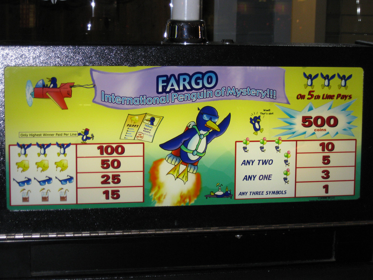 Fargo, International Penguin of Mystery, at the Jackpot Casino.