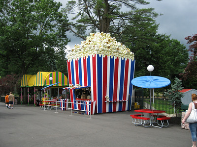 Popcorn stand themed seating.