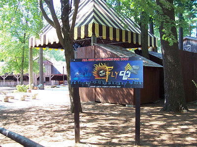A new sign for shows was near the Village Stage.