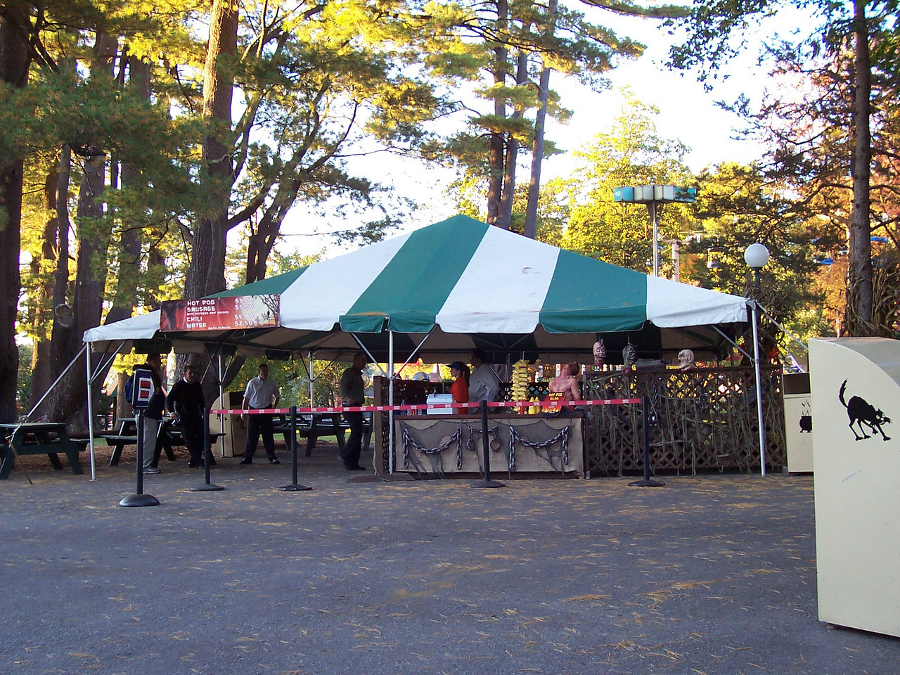 A new food concession stand. It served hot dogs, sausages, and chili.