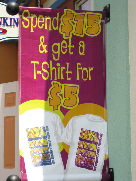 Spend $15 and get a t-shirt for $5 promotion.