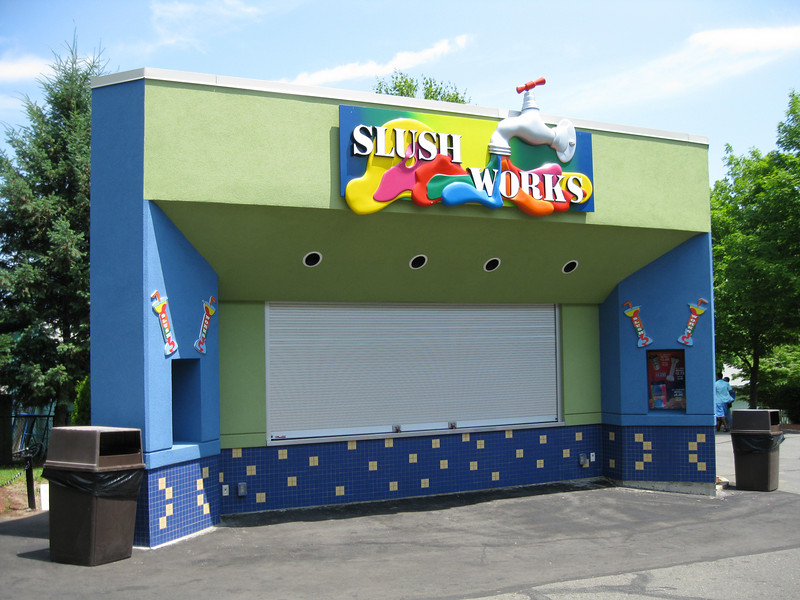 The new Slush Works concession was closed in the morning, though it was a warm day.