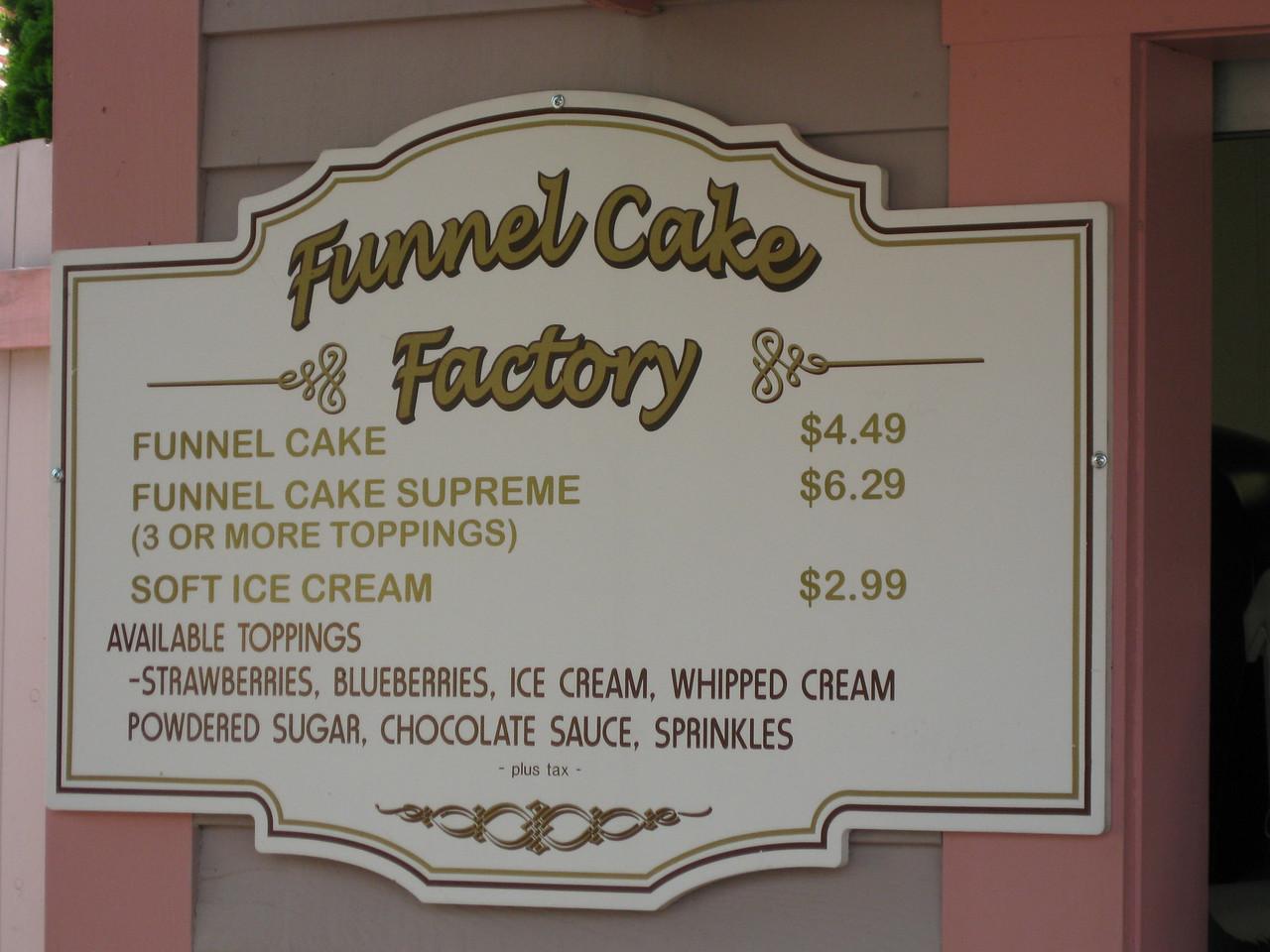 Funnel Cake Factory menu.
