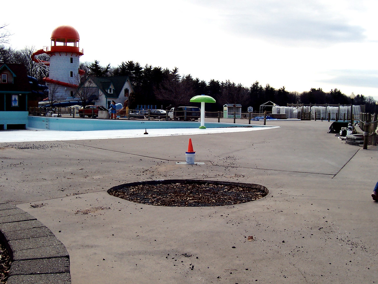 Removed mushroom in the water park.