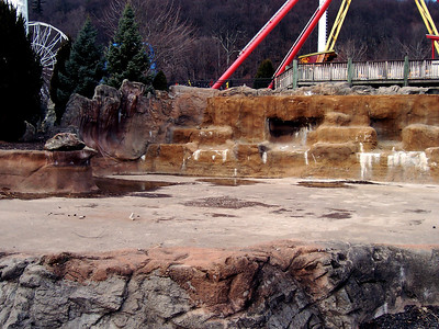 The Pirate Ship lagoon, drained.