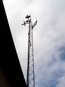 A radio tower backstage.