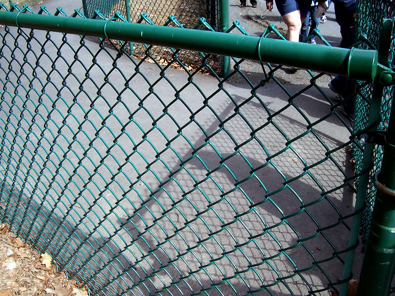 The thicker chain-link fence.
