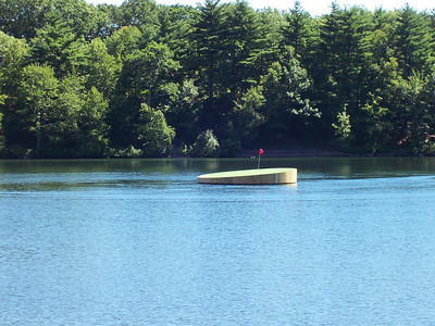 This golf putting green was floating in the lake.