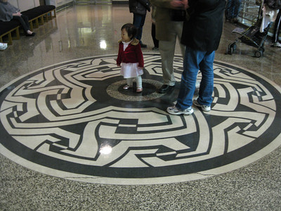 The floors inside are decorated with art.