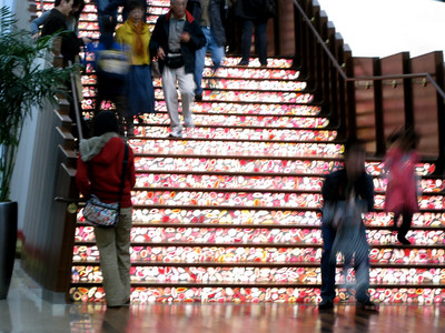 Lit staircase.