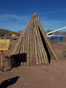 There were various Native American housing structures on display.