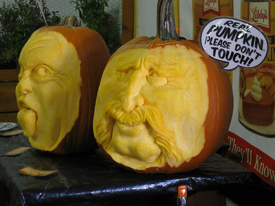 Carved pumpkins.