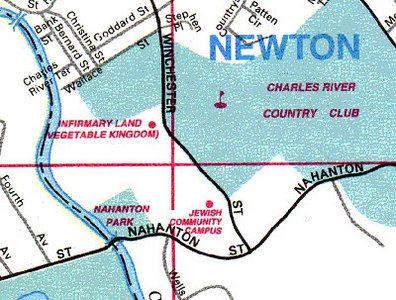 From a map of the Boston, MA metro area.  This was an old state asylum near the Newton/Needam border.