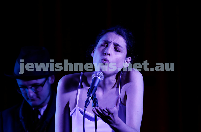 4-2-18. Amy Winehouse - A Tribute at Memo Music Hall, St Kilda. Alma Zygier singing with the band. Photo: Peter Haskin