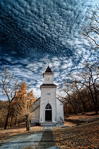 St. Paul's (est. 1890) Cooper Hill, Missouri March 18, 2009  Captured with an infrared-converted Nikon D70s.