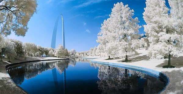 Arch Park Wonderland August 24, 2008  This is one of the better images I captured yesterday at Scott Kelby Worldwide Photo Walk in St. Louis.  I'll be posting more this week.  Oh, the details: Correction!  Nikon D70s (IR converted) w/10.5mm Nikkor fisheye, f14, 1/80 sec, ISO 200 (handheld). I'm sorry. I'm so used to my D300 that I forgot this wasn't taken with that camera but with my newly IR-converted D70s.  Sorry!