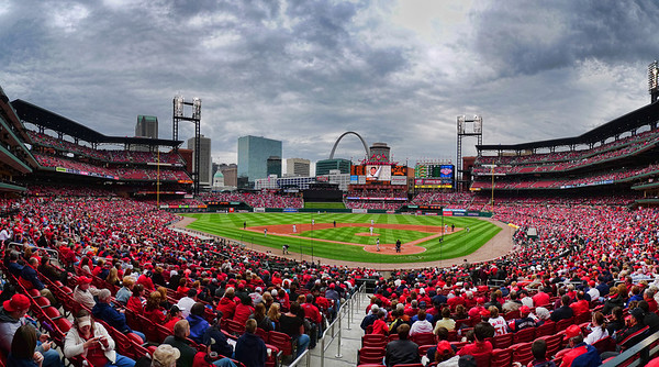 A Rush of Red - Bush Stadium, St. Louis, MO April 10, 2009  I captured this shot yesterday afternoon at the ball game.  It's a panorama made with 4 shots from my little Lumix Lx3 stitched together with Photoshop.