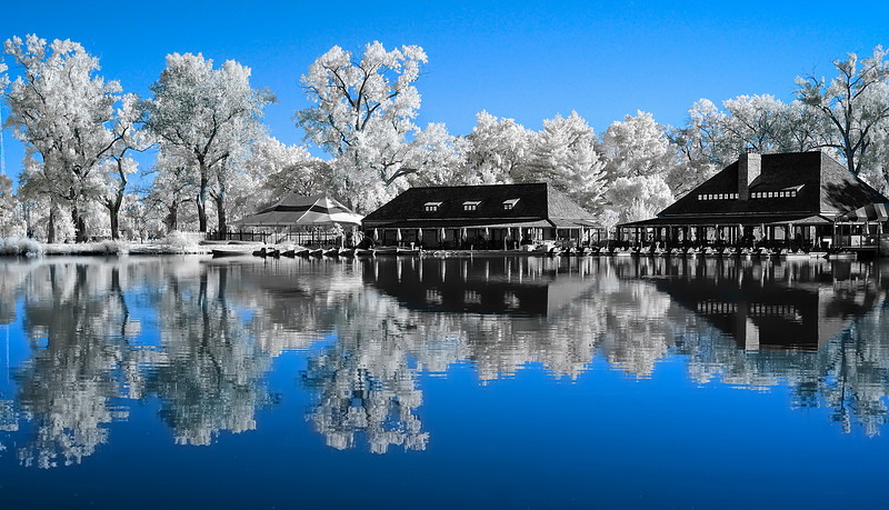 The Boat House - Forest Park, St. Louis October 5, 2008  Captured with an IR-converted Nikon D70s.