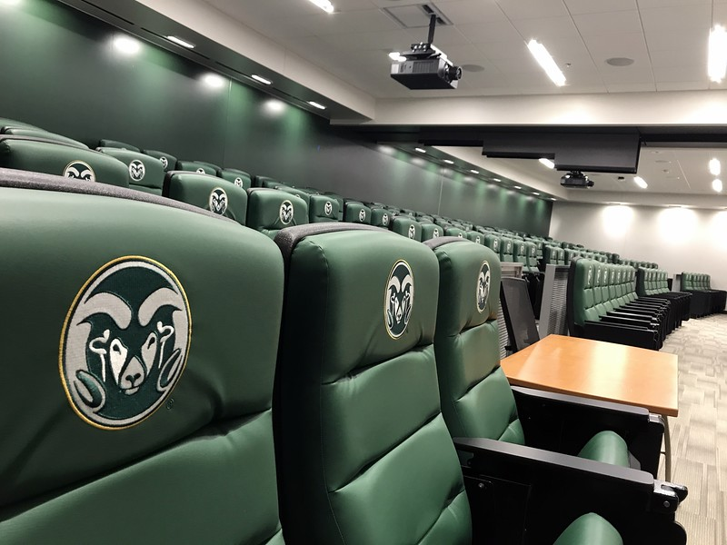 Colorado State's new on-campus stadium is completly outfitted for daily use by the program's players and coaches, including a 150-seat theatre-style team meeting room just down the hall from the locker room and training areas. (Cris Tiller / Loveland Reporter-Herald)