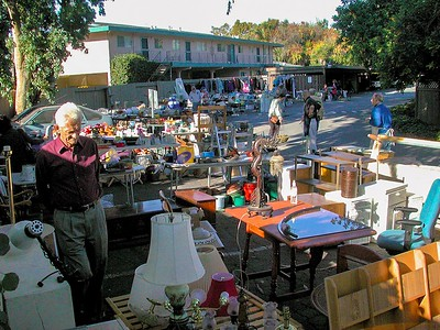 A huge yard sale in the Ananda Community, late 1990s.