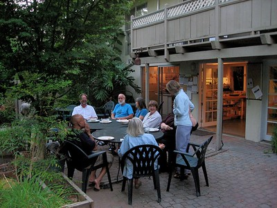 Folks relax over dinner on the Master's Kitchen patio.