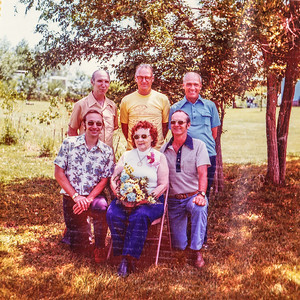 1976 Kipp Family Reunion, Clint, Bud, Wayne, Mike, Mom, Gene-0002-2