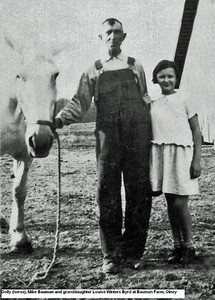 Mike Bauman and granddaughter Louise Winters Byrd with Dolly the horse
