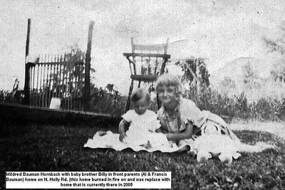 Mildred Bauman Hornback with brother Billy