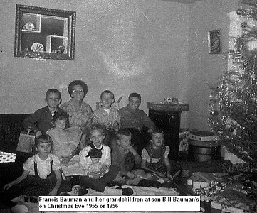 Frances Bauman and grandchildren 1955