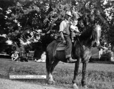 Berta holding Susie Bauman and Albert holding Mike Bauman on horse