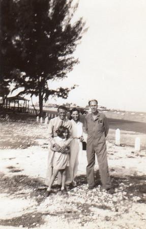 Julie in front of _?_, Dorothy, Gene