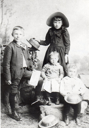 L to R: Louis Wittman (age 10-12), Emma Walburga (age 8-10), Hilary (age 4-6), William (age 6-8), c. 1893