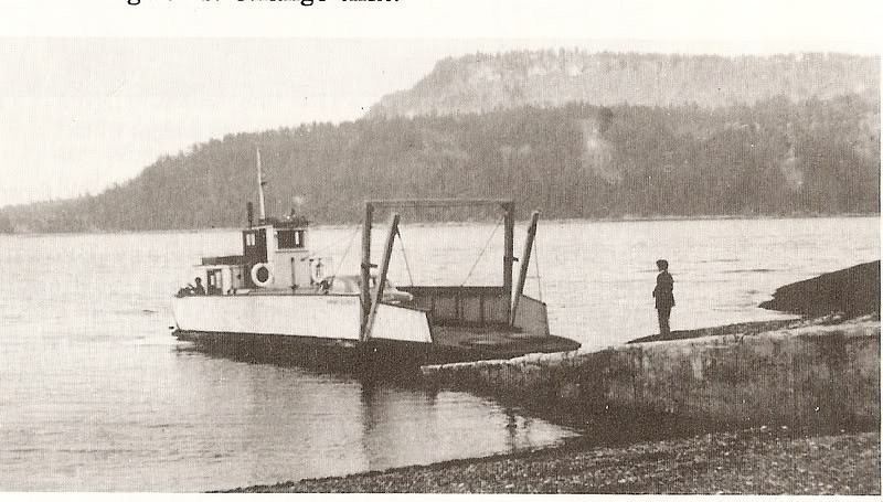 he first Savoie- built car ferry, the Hornby Island V, at Gravelly Bay<br /> <br /> A landing had been built at Gravelly Bay on the east side of Denman in 1942, and with the backing of the Credit Union, Savoie's initiative, and the help of islanders in donating tons of cement and offering their labour at the Hornby landing, ferry service was initiated. Islanders now had a regular, dependable connection to the outside world, and a way to get their products to market. The 'Hornby Island V' carried two cars, which backed on or backed off, and was replaced by another Savoie built craft, the six car 'Lorraine S', which served until Savoie's retirement, and the start of Highways Department service, in 1971.
