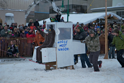 Tons of fun in the middle of winter. As Alaskans are spending the hard winter in there houses they get anxious to be outside and doing something. This is what this races is all about. Getting outside and doing something crazy and fun. I think there were more people their for the Outhouse Races then the Sprint Dog Races.