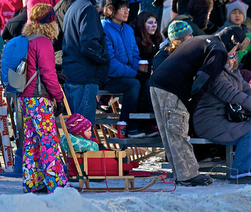 2012 Fur Rondy Sprint Dog Races in Anchorage. This is a world class dog race with competitors from all over the world come to race there dogs. Eskimo Stroller and Great Hippie Pants.
