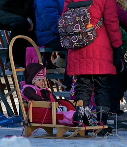2012 Fur Rondy Sprint Dog Races in Anchorage. This is a world class dog race with competitors from all over the world come to race there dogs. Eskimo Stroller.